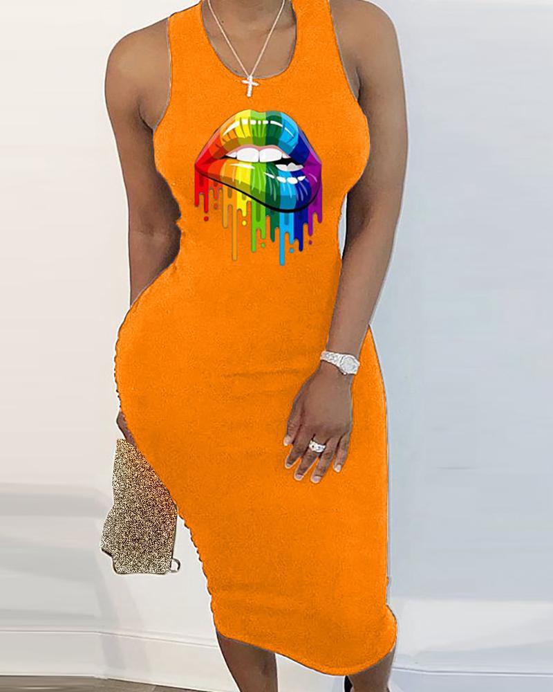 Lip Print Cut Out Sleeveless Dress фото