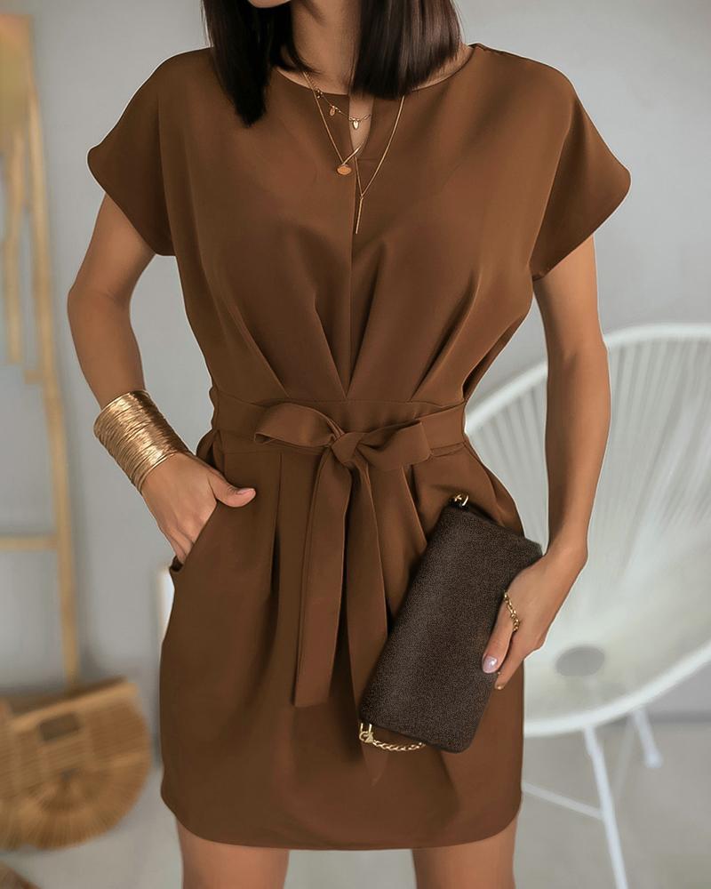 Short Sleeve Ruched Pocket Design Dress фото