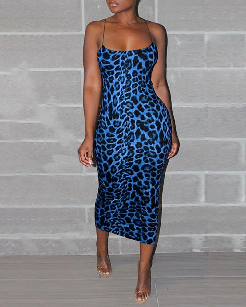 Spaghetti Strap Leopard Print Bodycon Dress фото