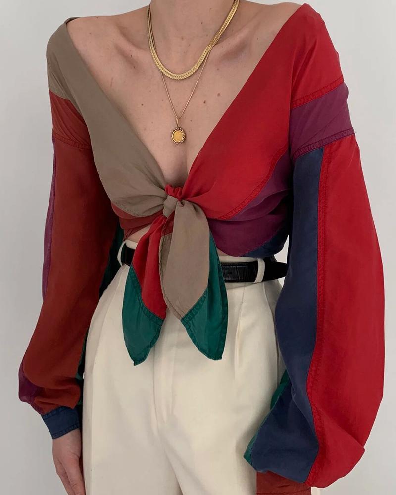 ivrose / Blusa con cuello en V blusa de color de contraste