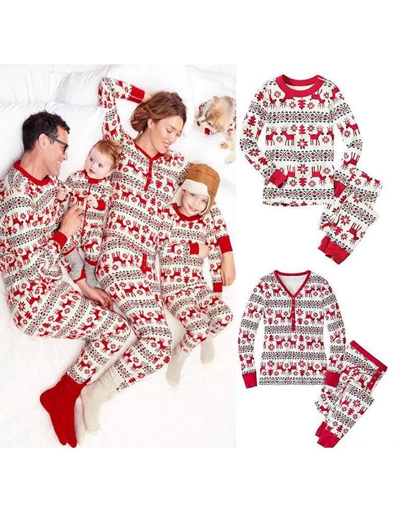 ivrose / Christmas Mixed Print Casual Top & Pants Set For Mom