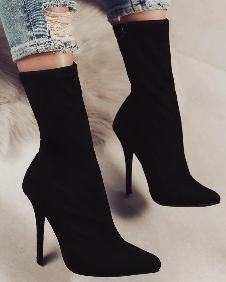 Black Side Zipper Pointed Toe Heeled Boots