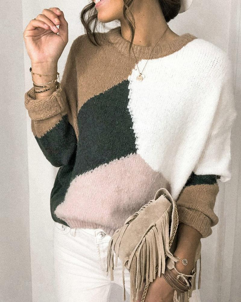 chicme / Colorblock Fluffy Casual Knit Sweater