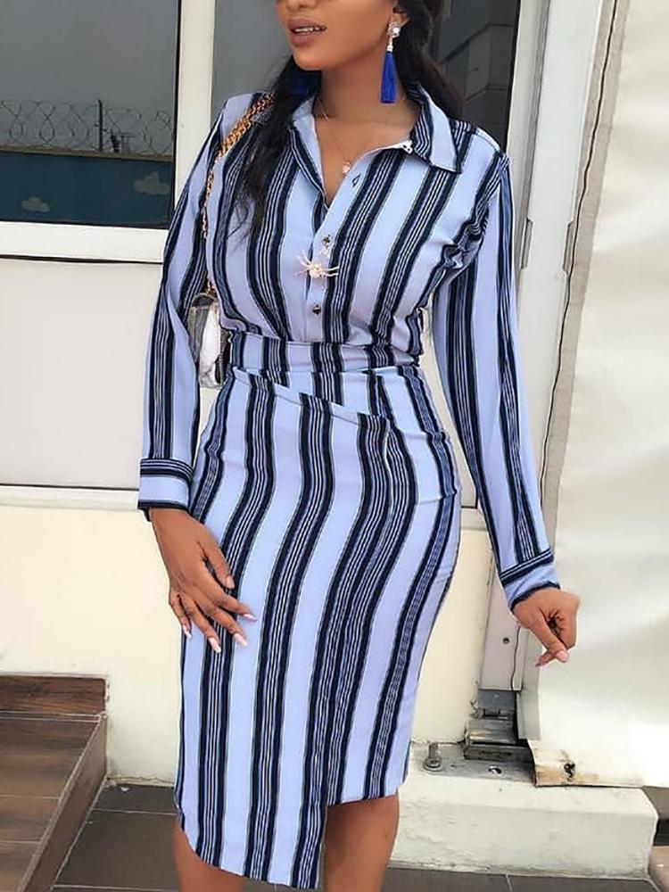 Contrast Stripes Irregular Hem Shirt Dress