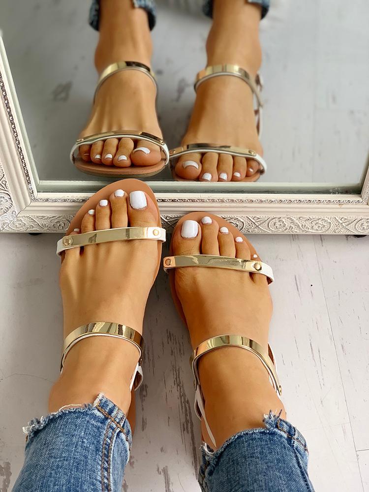 Double Metallic Strap Flat Sandals