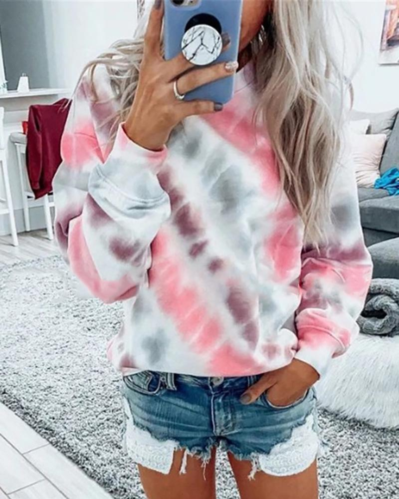 Tie Dye Print Colorblock Casual Sweatshirt фото