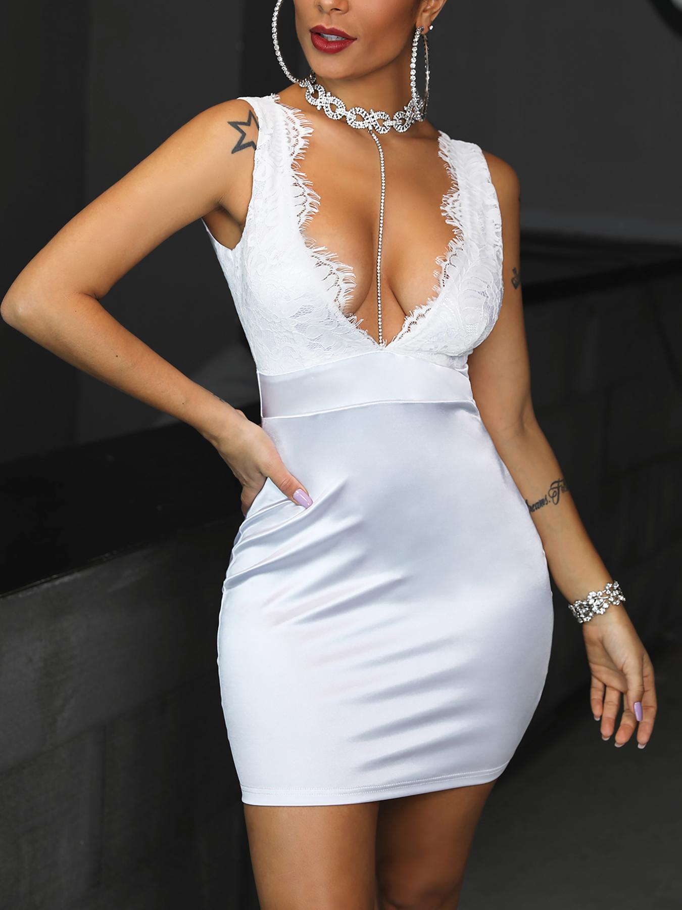 Eyelash Lace Bodice Deep V-Neck Dress