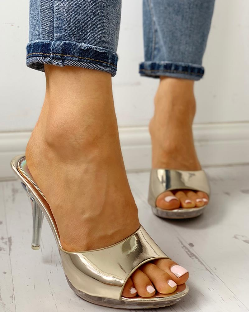 Peep Toe Transparent Thin Heeled Sandals