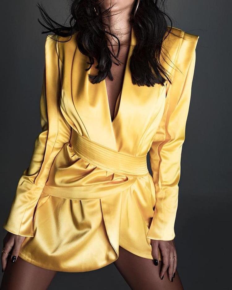 Long Sleeve Surplice Wrap Blazer Dress
