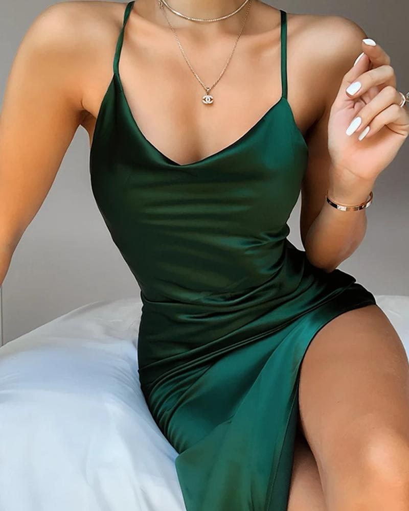 Plunge Neck Satin Mini Dress фото