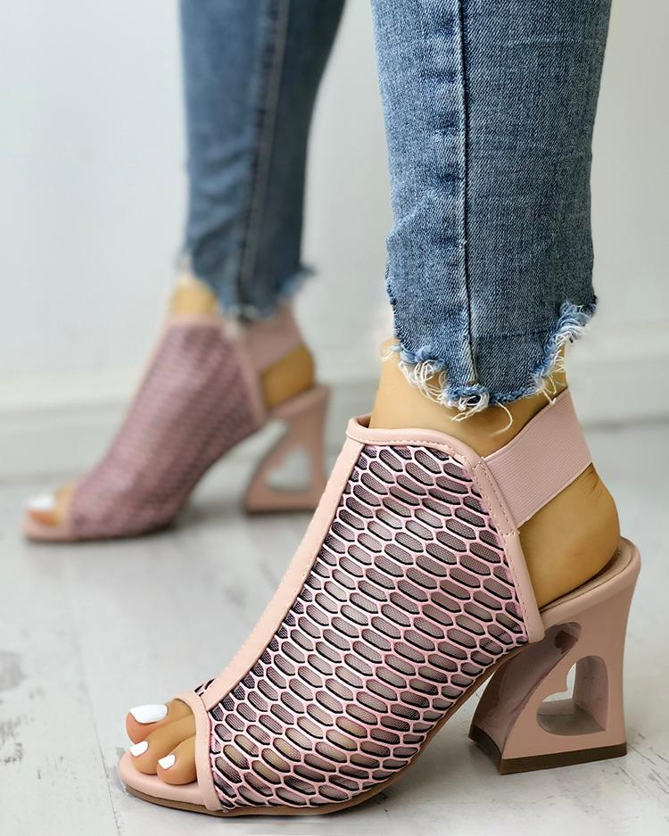 chicme / Peep Toe Hollow Out Heart Pattern Heeled Sandals