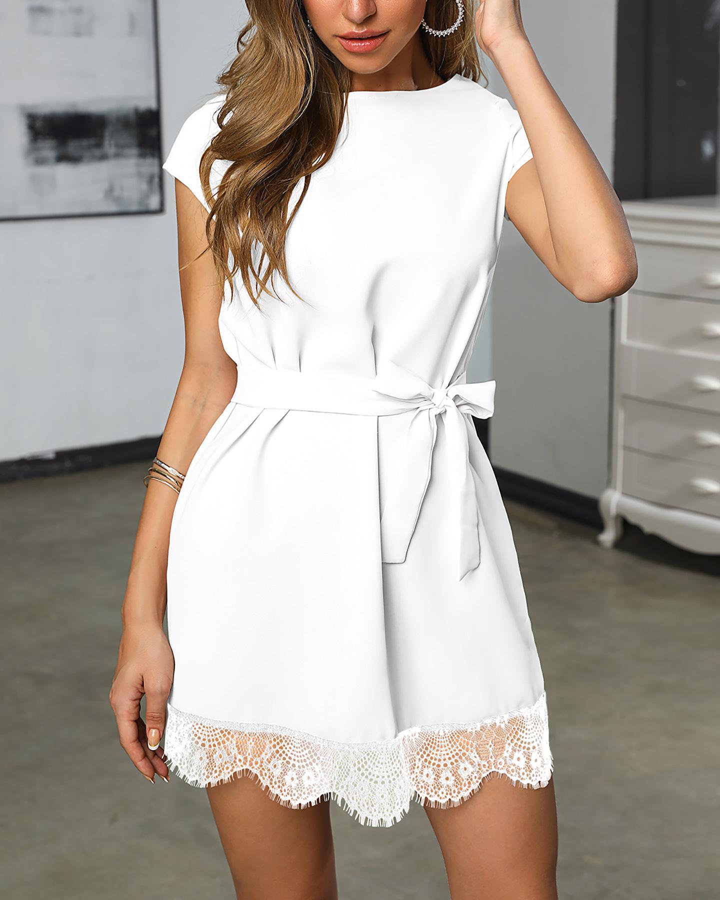ivrose / Short Sleeve Eyelash Lace Hem Casual Dress