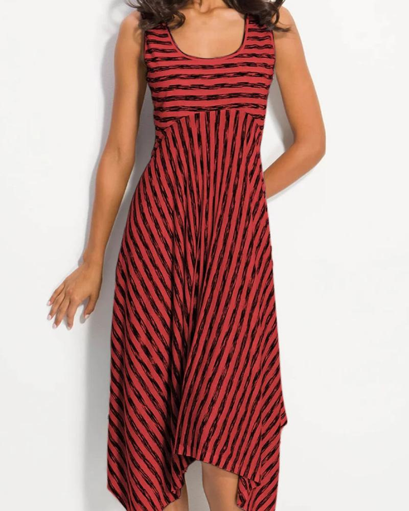 Striped Print Asymmetrical Hem Casual Dress
