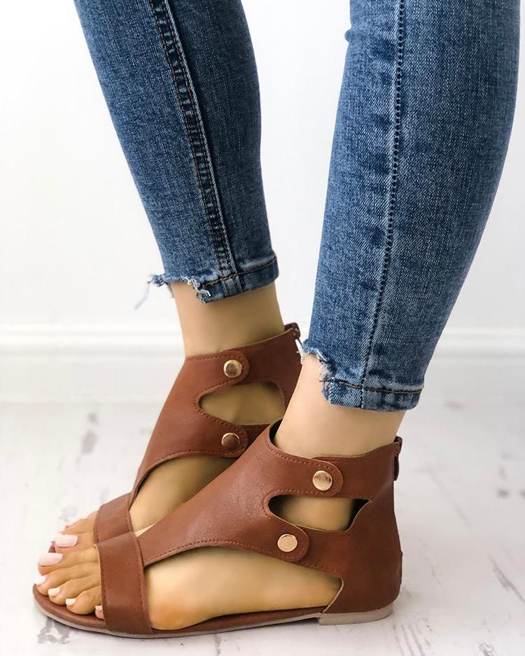 Fashion Cutout Buckle Metal Flat Sandals