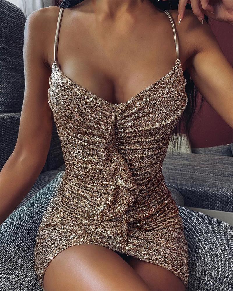 Sequined Ruffle Detail Slip Dress фото