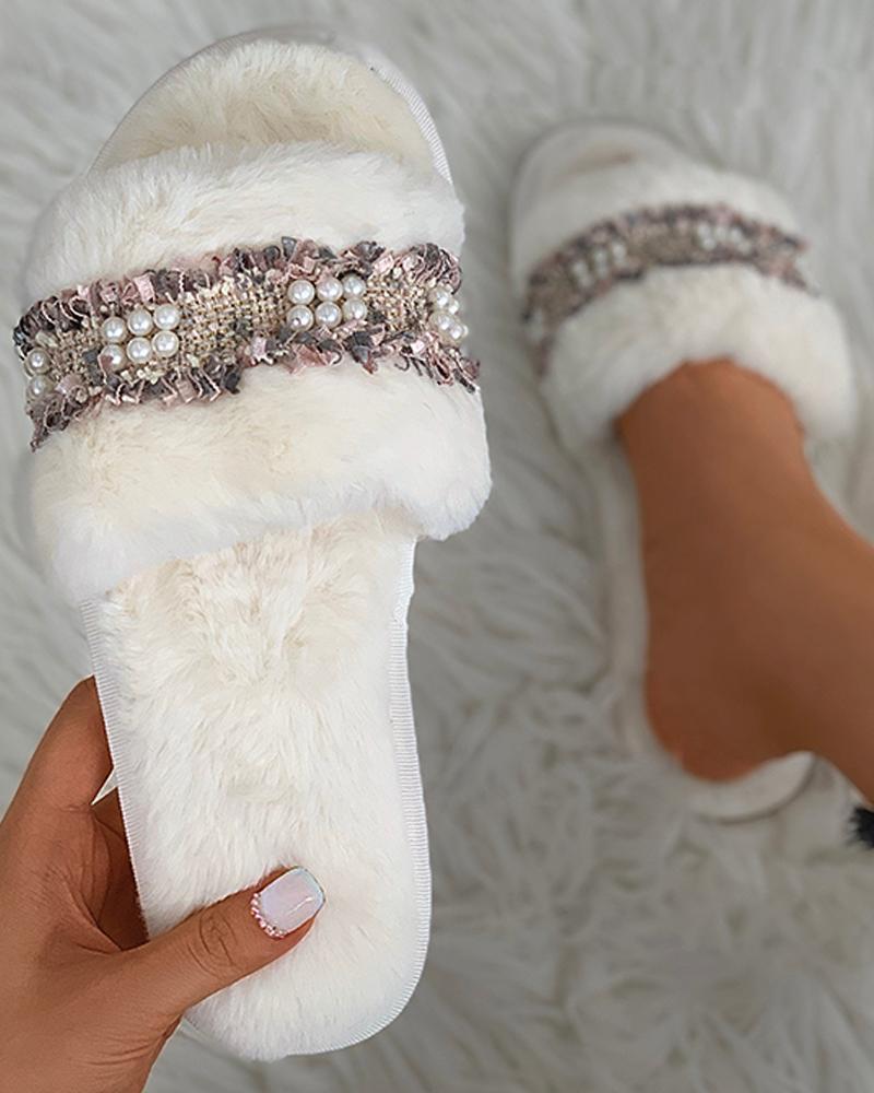Fringe Beaded Fluffy Slippers