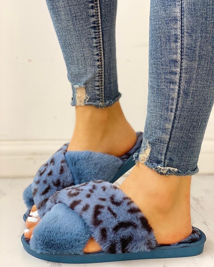 Fluffy Leopard Crisscross Peep Toe Slippers фото
