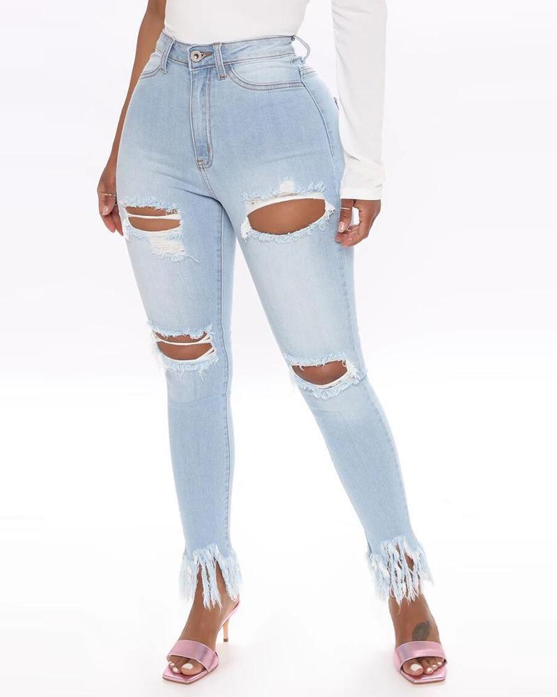 ivrose / Holey franjas Hem angustiado lápis jeans