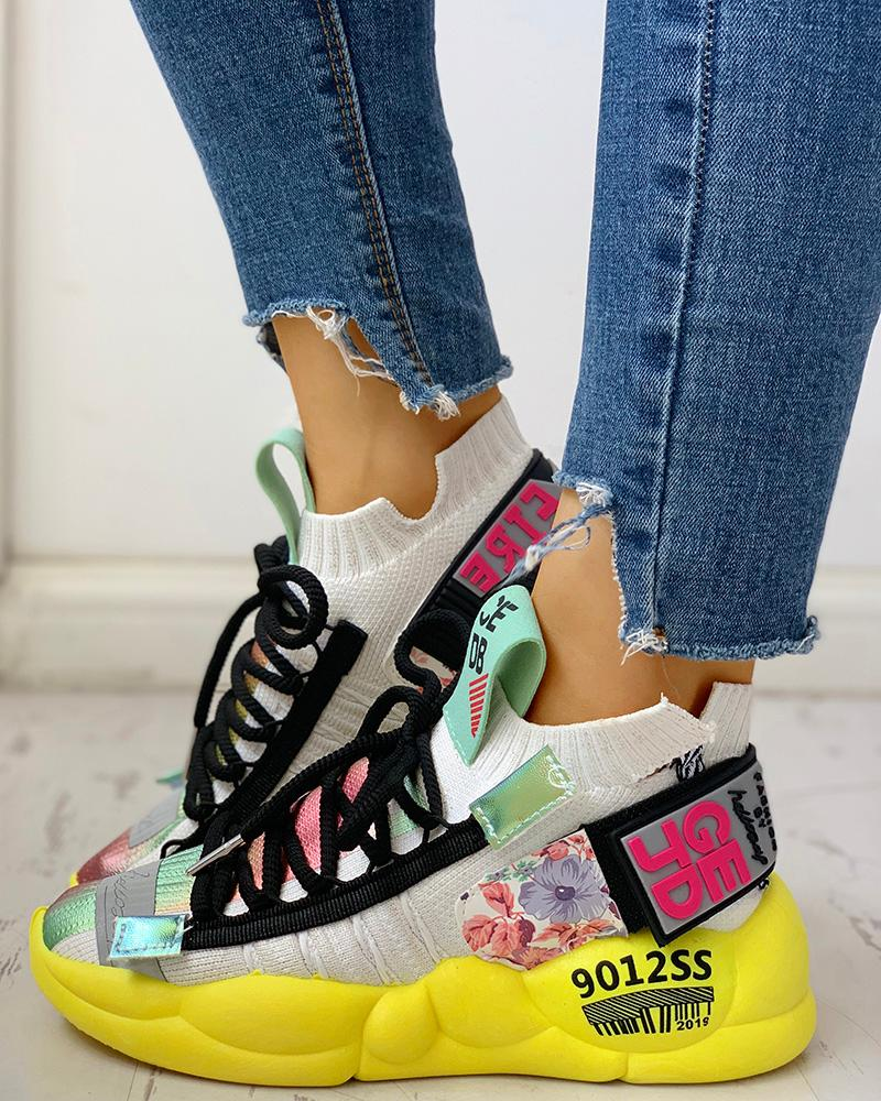 boutiquefeel / Zapatillas casuales transpirables de punto con cordones