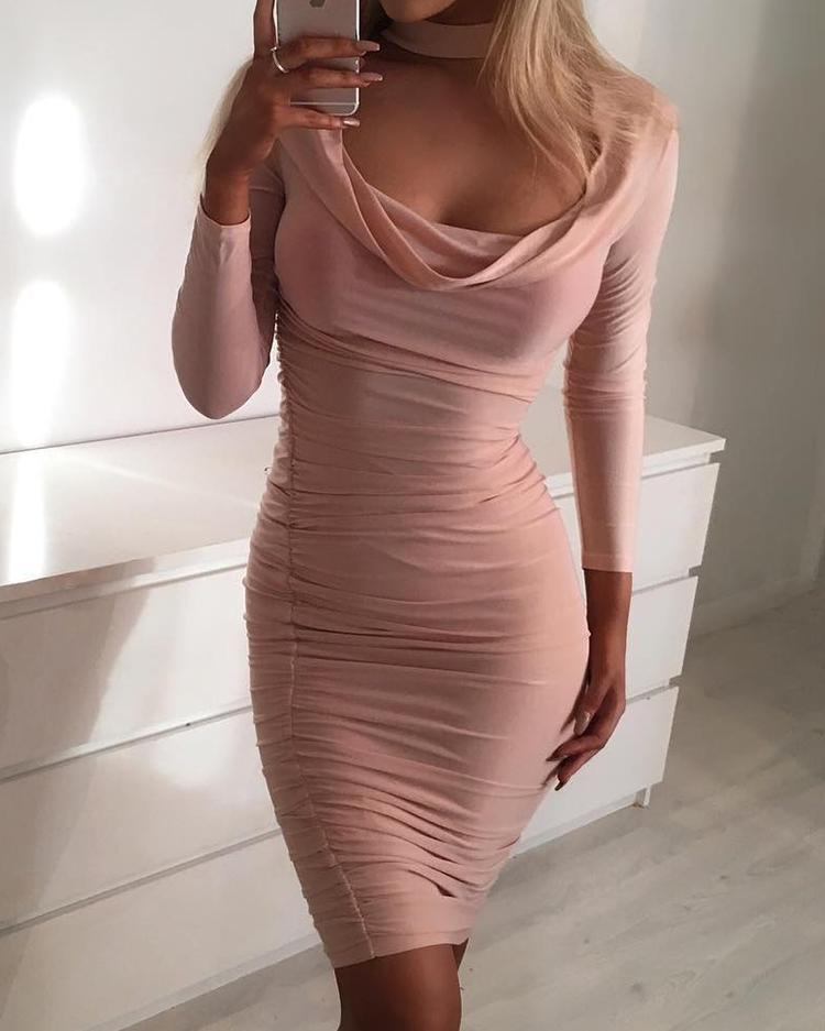 Choker Cutout Ruched Bodycon Dress фото