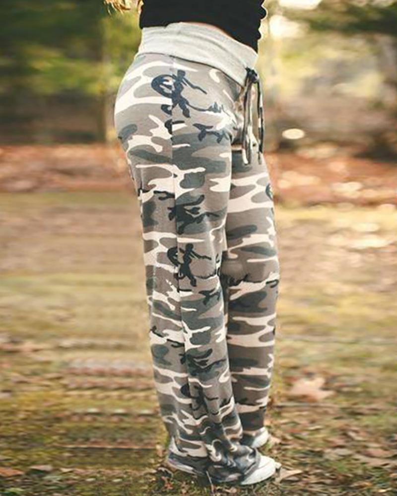 chicme / Camuflagem Imprimir Calça Casual Cintura Alta