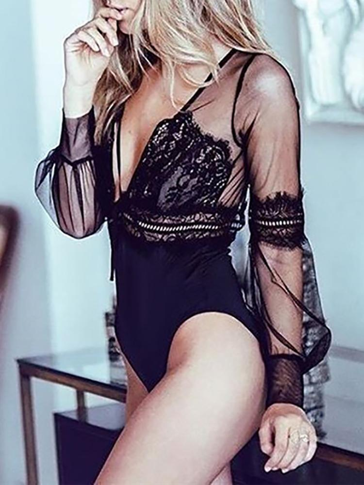 Sheer Lace Mesh Backless Teddy Bodysuit