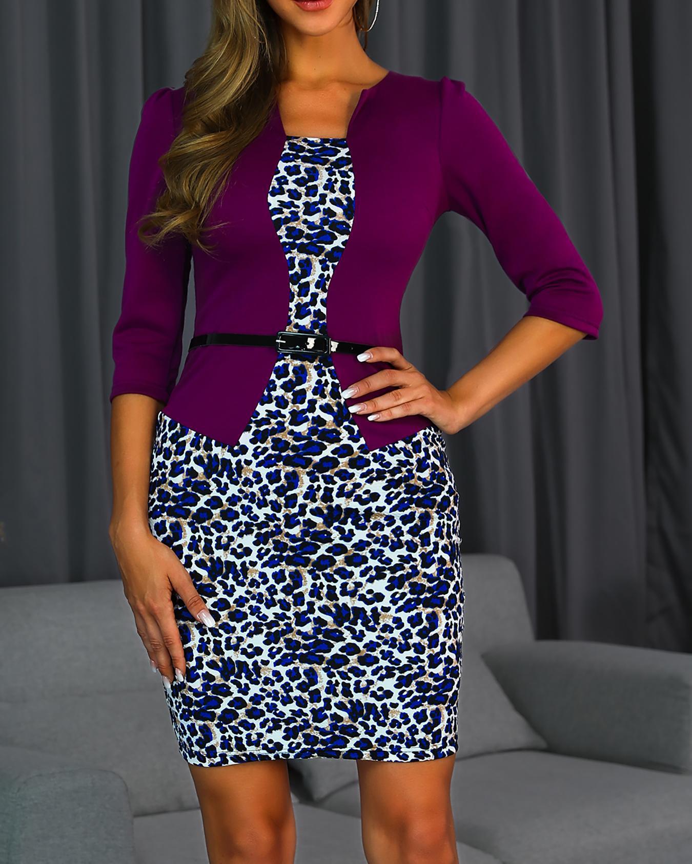 Leopard Print Insert Fake Two Piece Dress фото