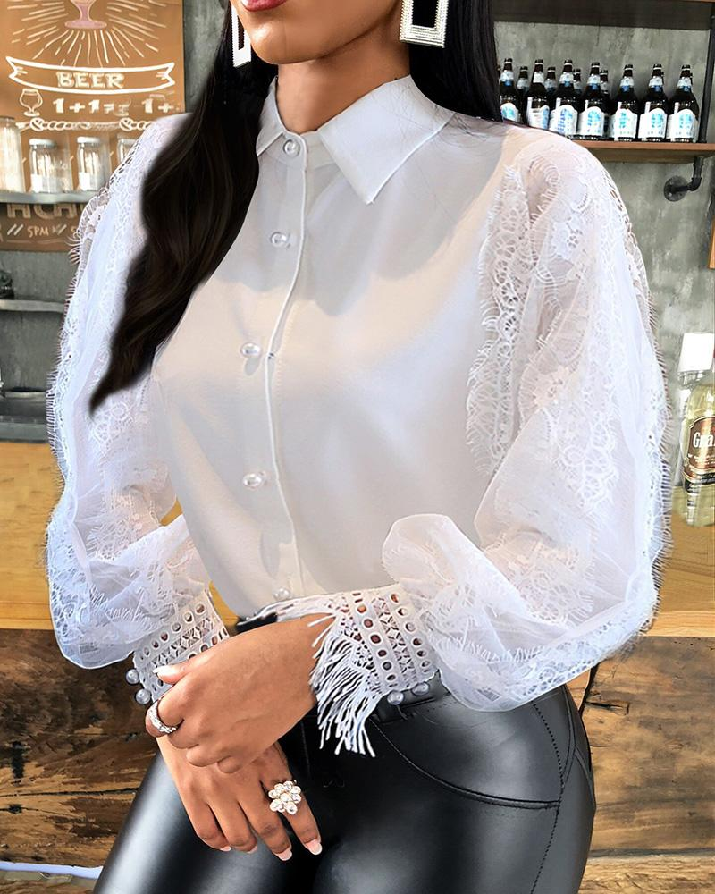 chicme / Button Design Lace Lantern Sleeve Top