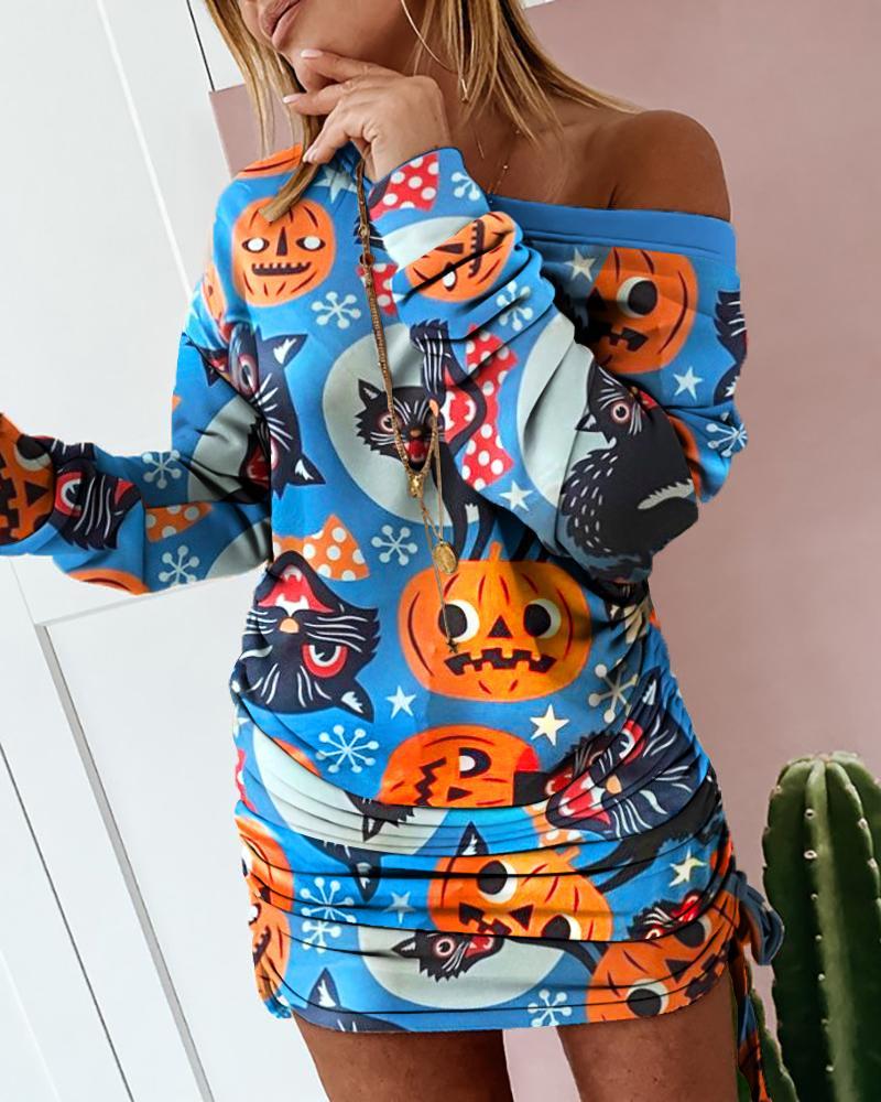 ivrose / Vestido de moletom com estampa de gato de abóbora de Halloween