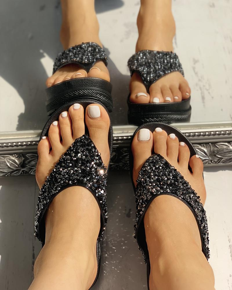 Glitter Sequin Embellished Toe Post Muffin Sandals фото
