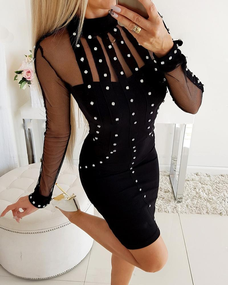 Studded Mesh Insert Mini Dress фото
