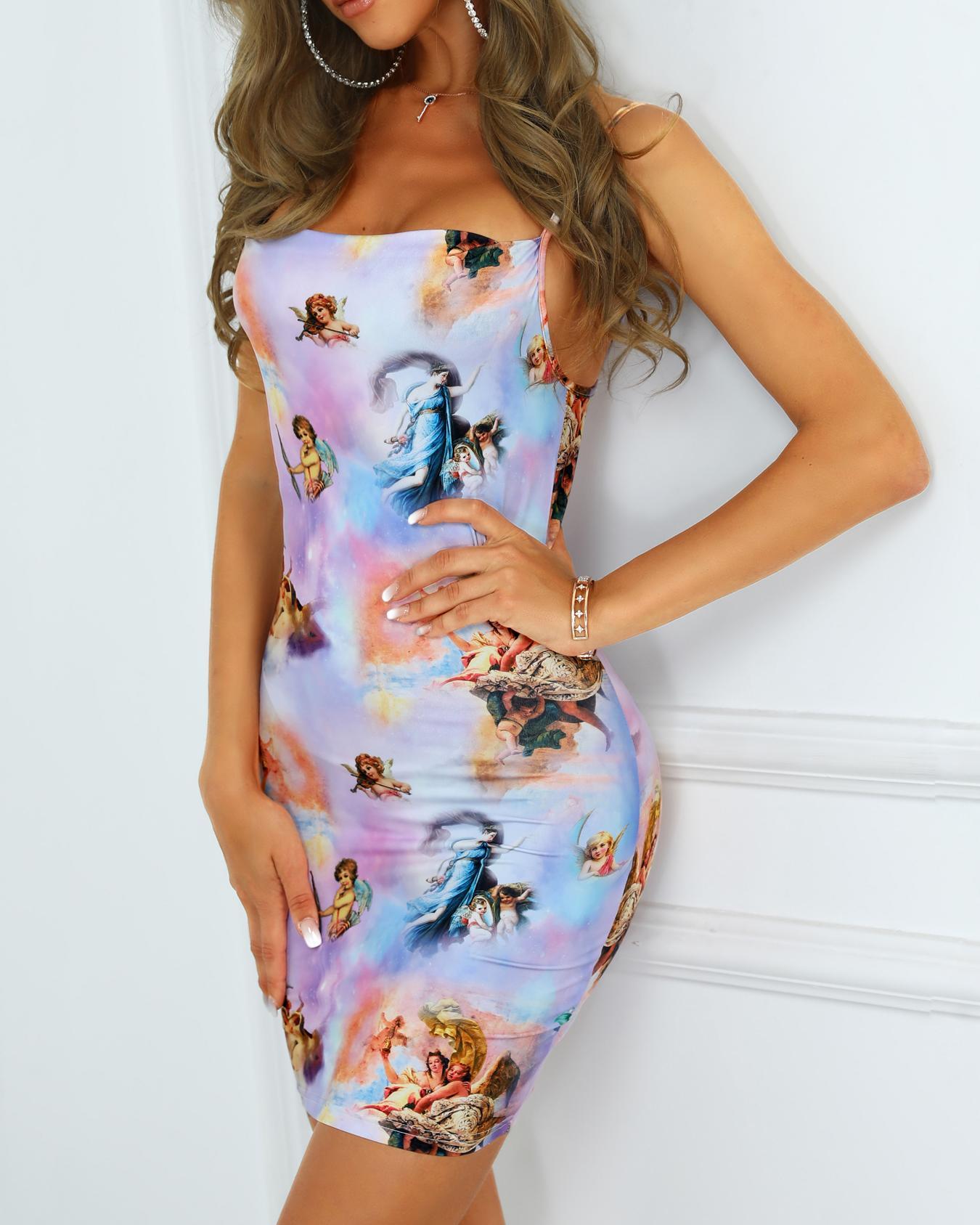 Spaghetti Strap Figure Print Bodycon Dress