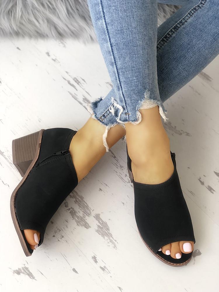 Peep Toe Zipper Chunky Heeled Sandals фото