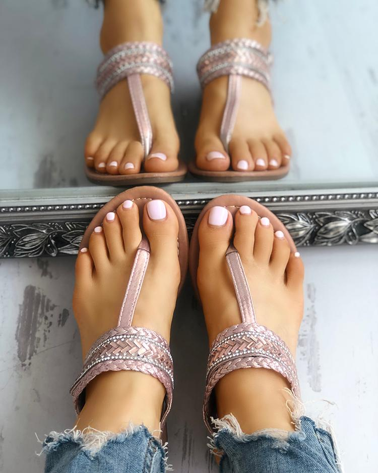 Sequins Embellished Braided Toe Post Flat Snadals