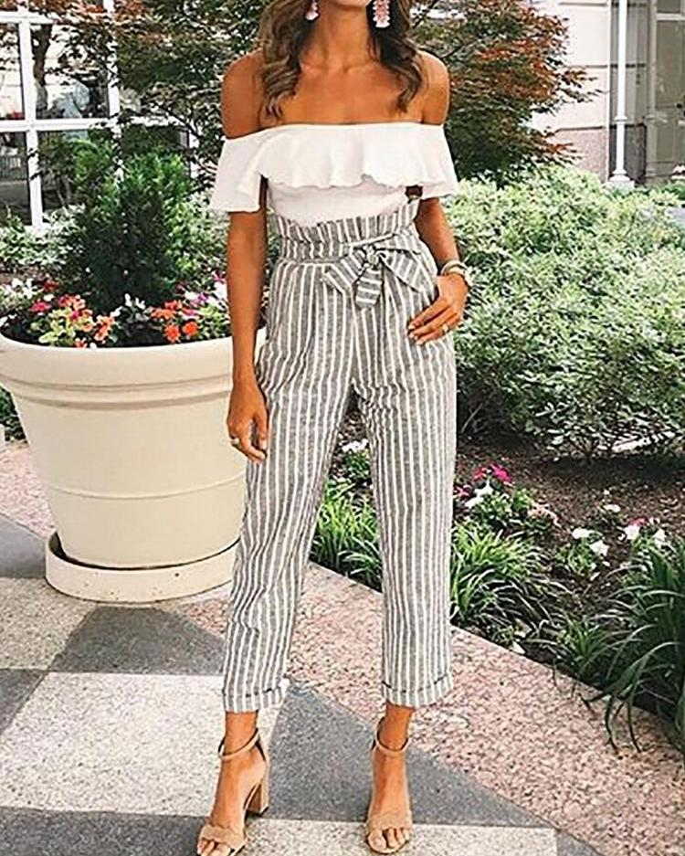boutiquefeel / Pantalones de dobladillo a rayas cintura alta con cinturón a rayas