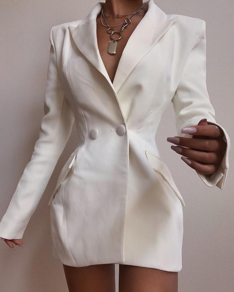 boutiquefeel / Vestido blazer liso de manga larga con diseño abotonado