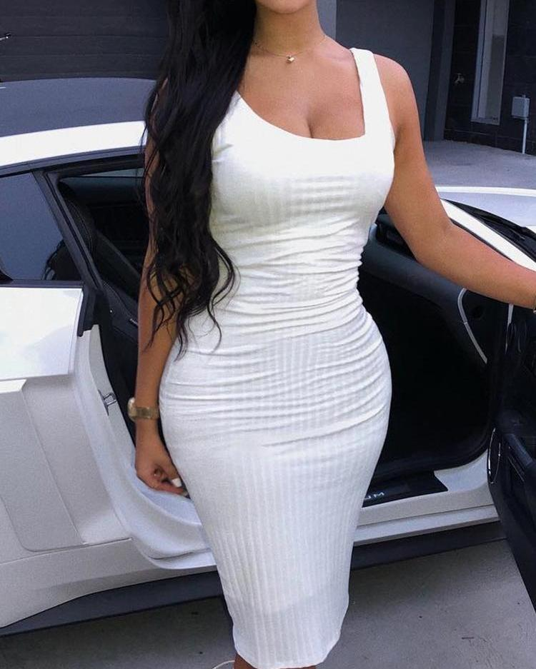 Solid Sleeveless Thin Strap Bodycon Dress