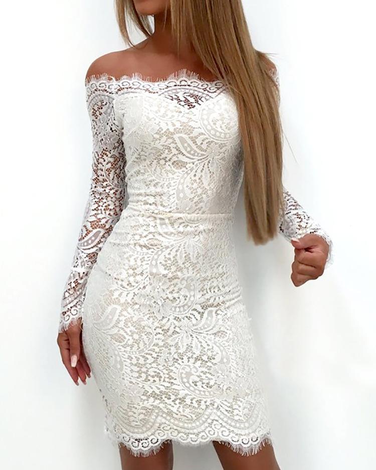 boutiquefeel / Emendando Lace Applique Fora Do Ombro Vestido Bodycon