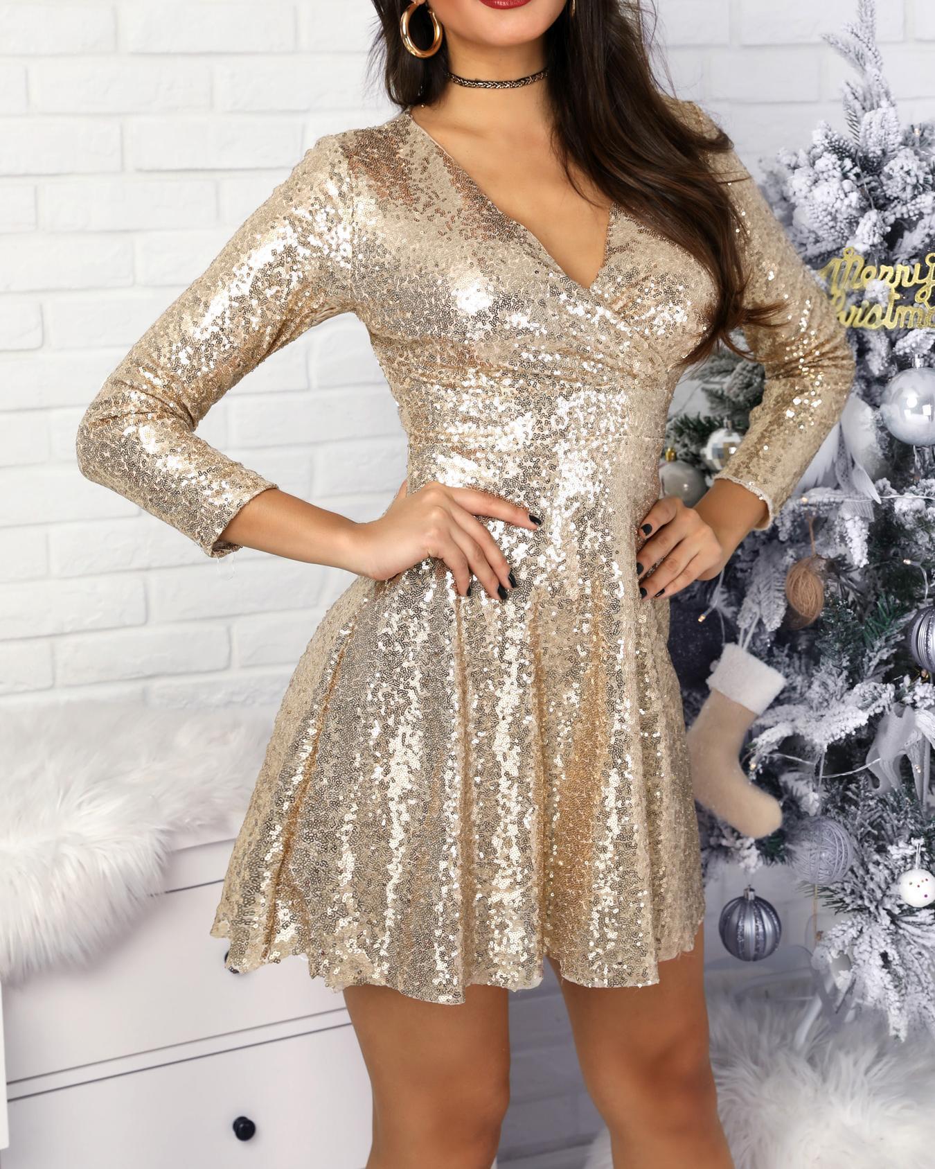 Surplice A-Line Pleated Sequin Party Dress