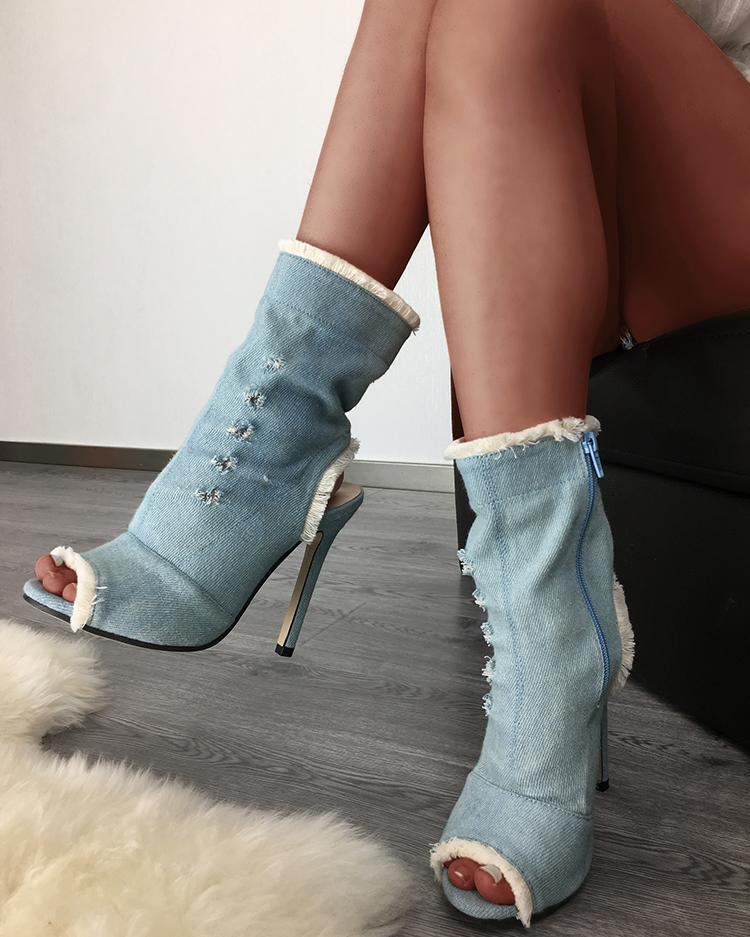 Raw Cut Denim Peep Toe Stiletto Boots