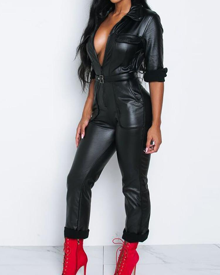 Pocket Zipper Design Belted PU Jumpsuit фото