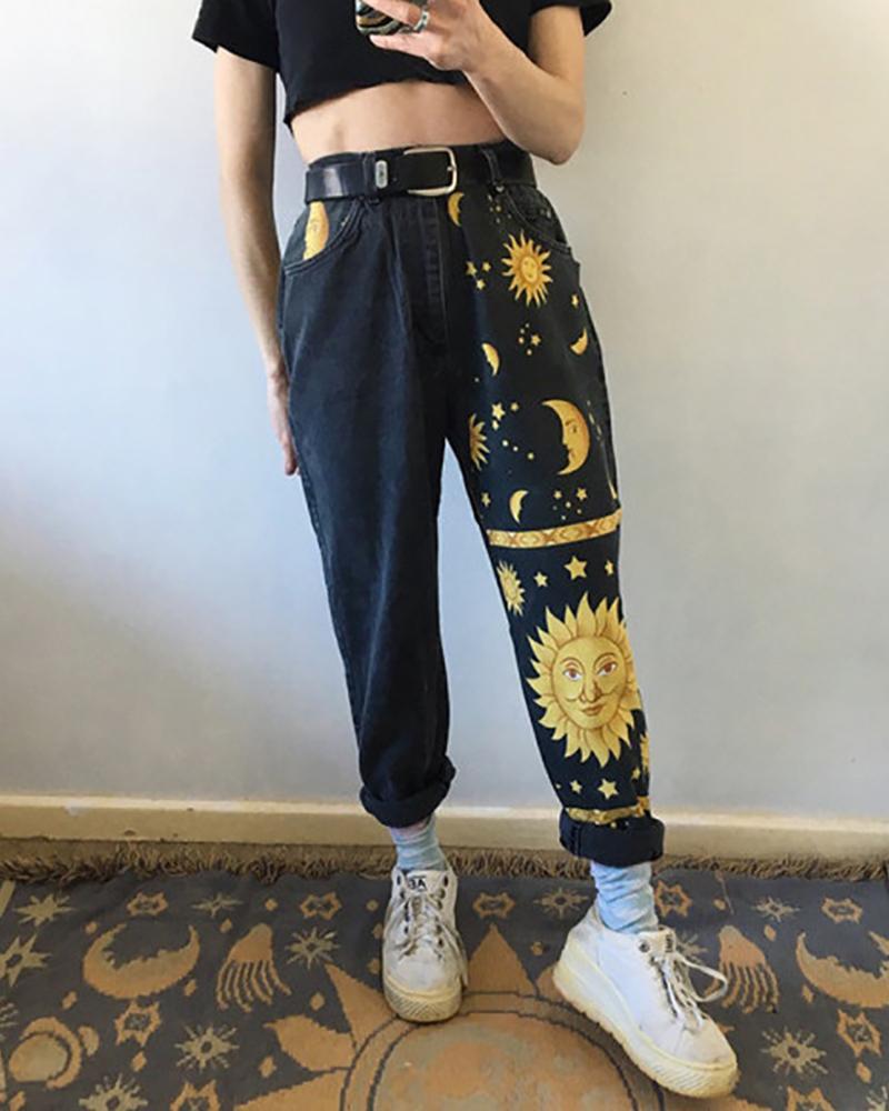 Sun & Moon Pattern High Waist Casual Jeans фото