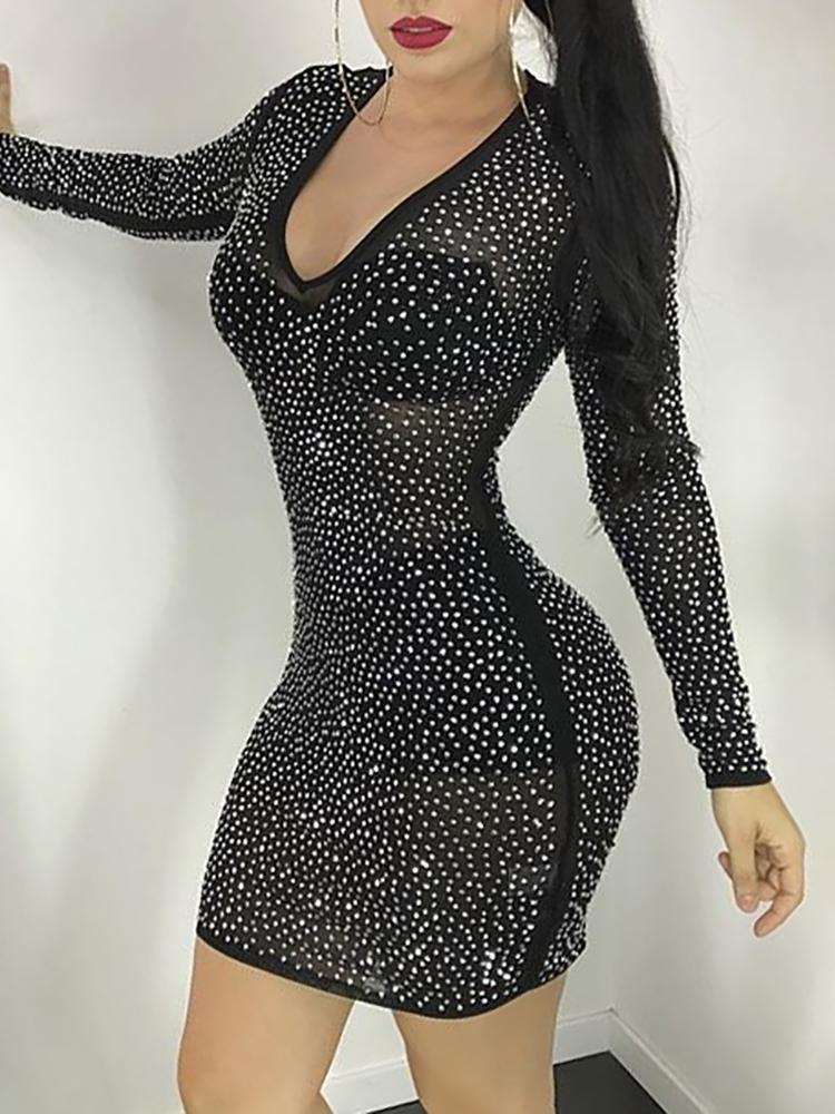 Glittering Sequin Mesh Bodycon Mini Dress
