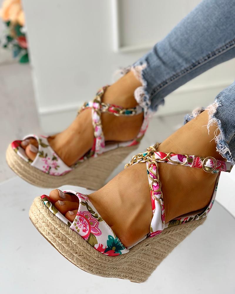 Floral Chain Detail Platform Wedge Sandals, joyshoetique, white  - buy with discount