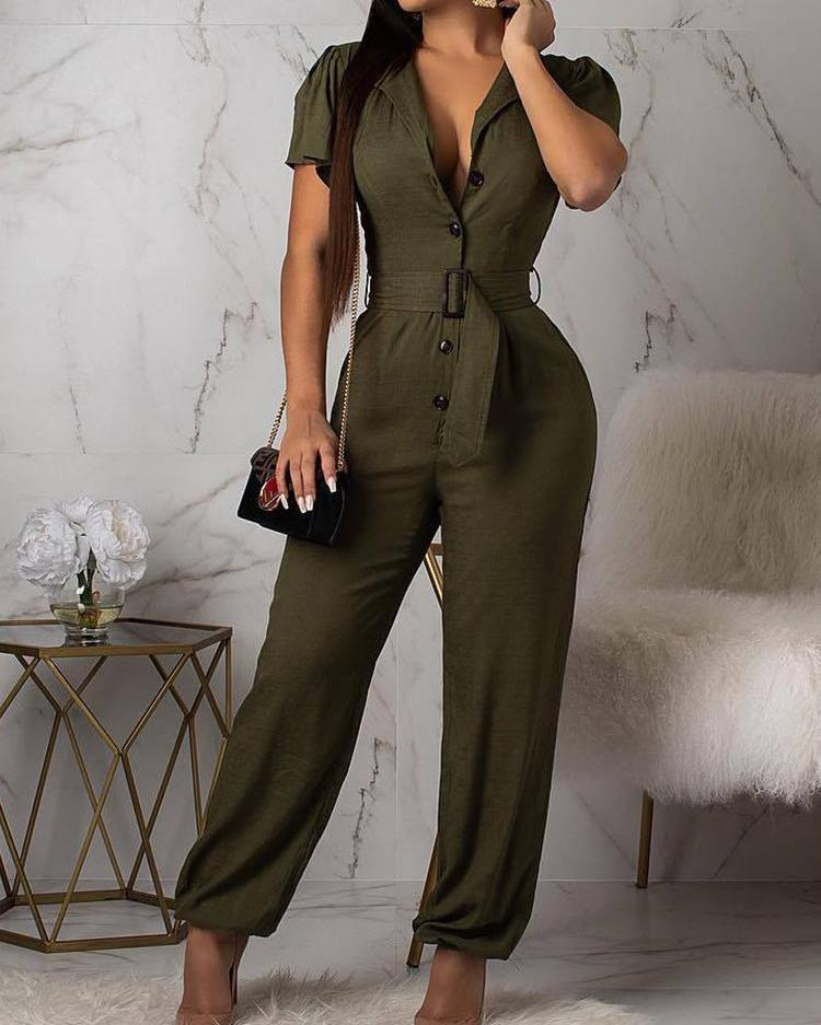 Short Sleeve Casual Jumpsuit With Belt