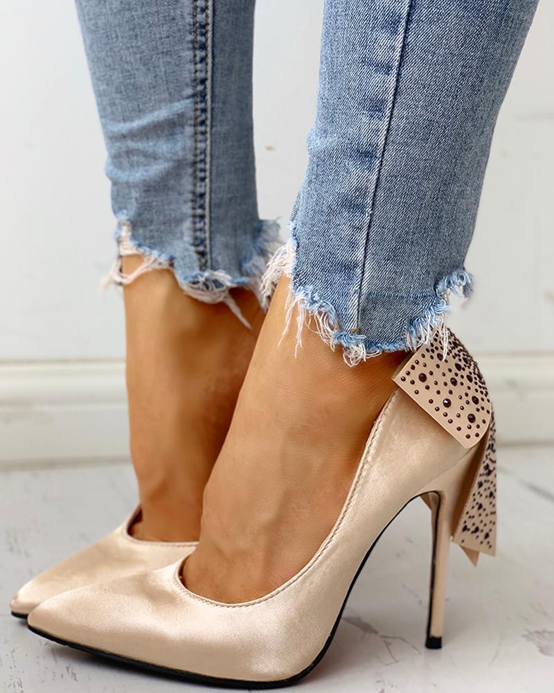 joyshoetique / Pointed Toe Studded Bowknot Detail Thin Heels