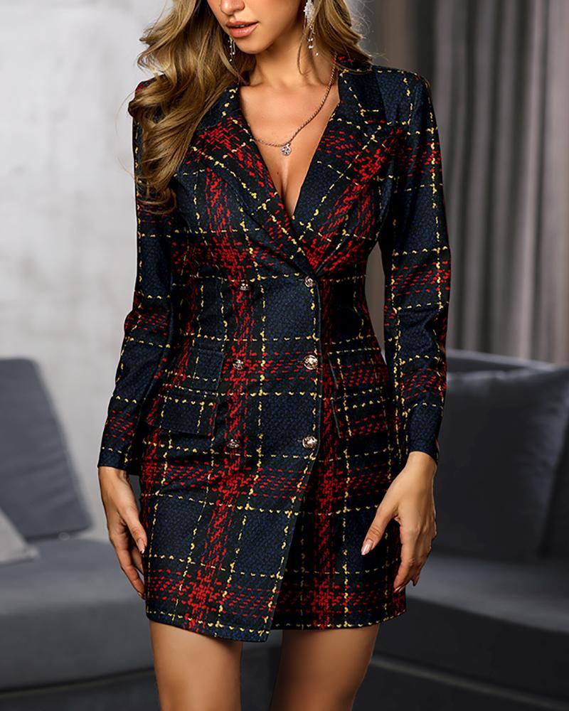 ivrose / Striped Grid Double Breasted Blazer Dress