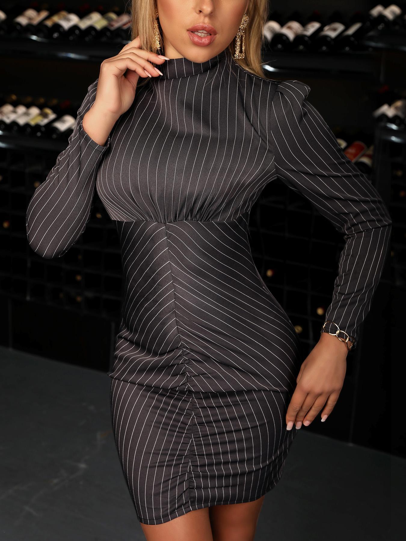 joyshoetique / Long Sleeve Striped Bodycon Dress