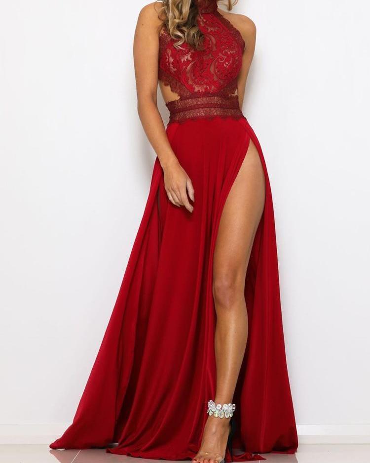 Guipure Lace Halter Open Back Maxi Dress