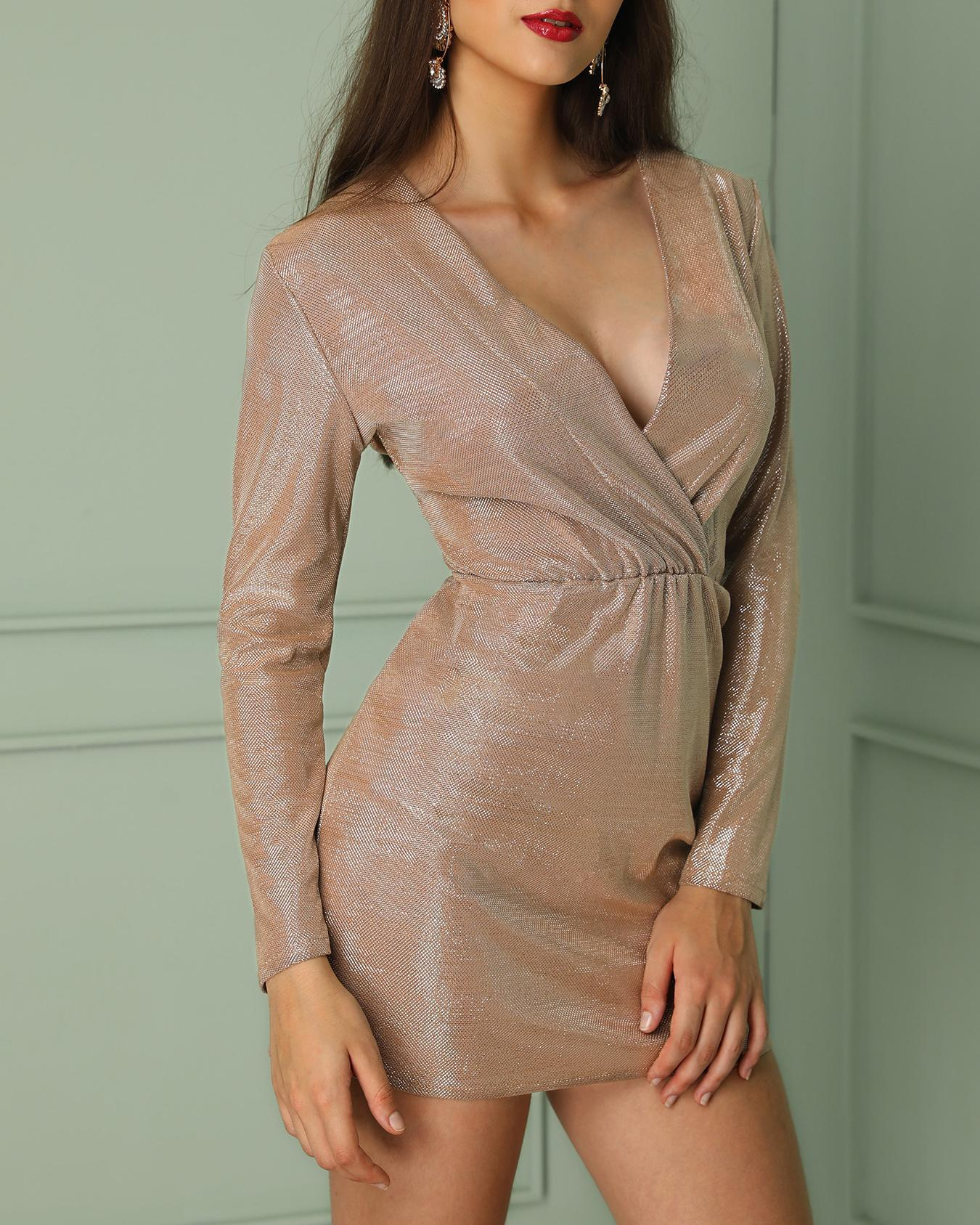 Glittering Deep V Long Sleeve Bodycon Dress фото